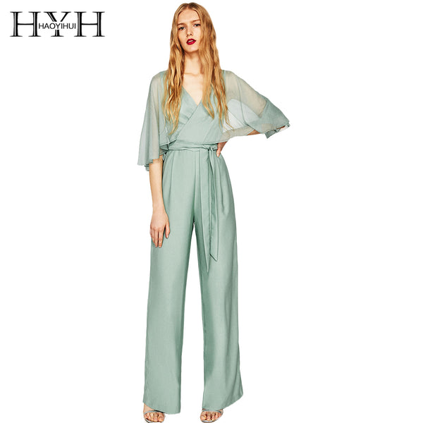 Contrast Sheer Half Sleeve V-Neck Jumpsuits