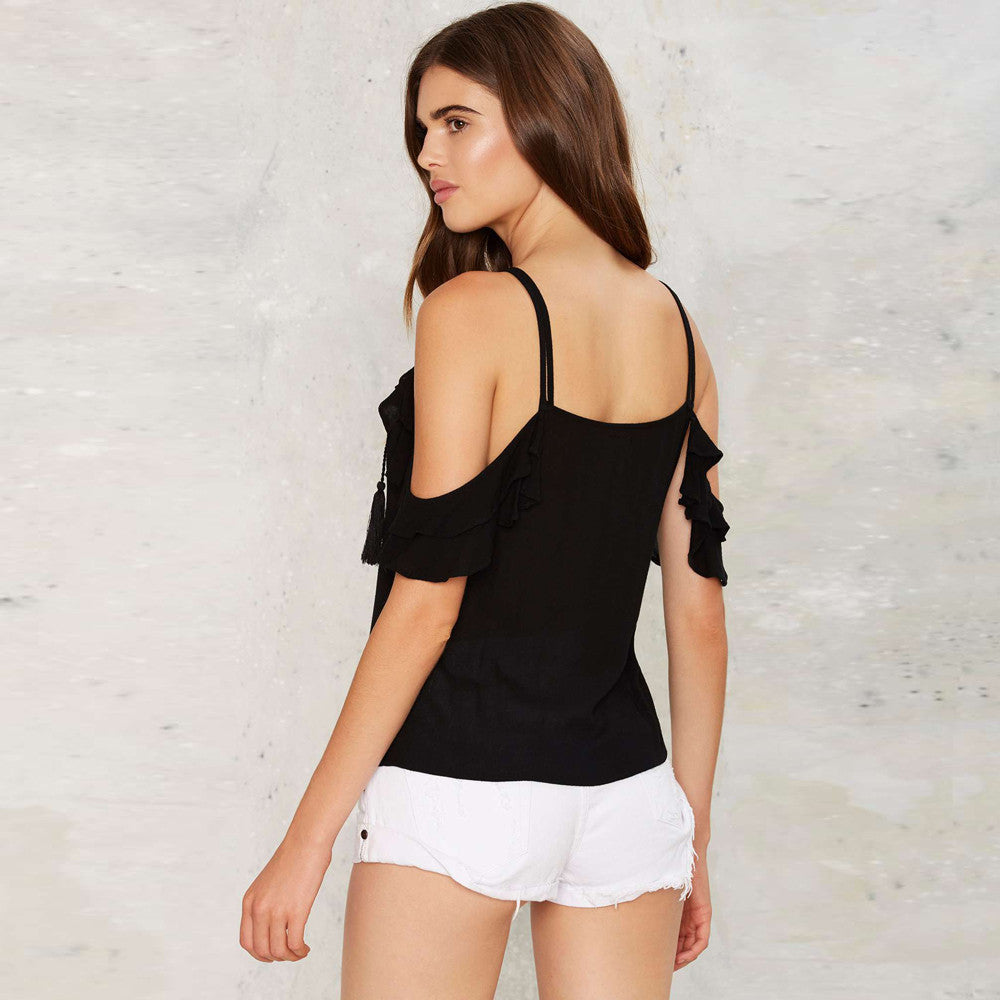 Cold Shoulder String Front Tops