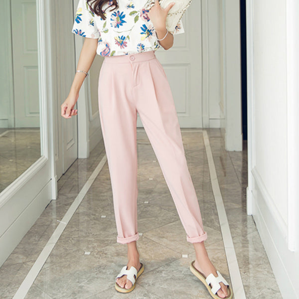 High Waisted Ankle-length Pants