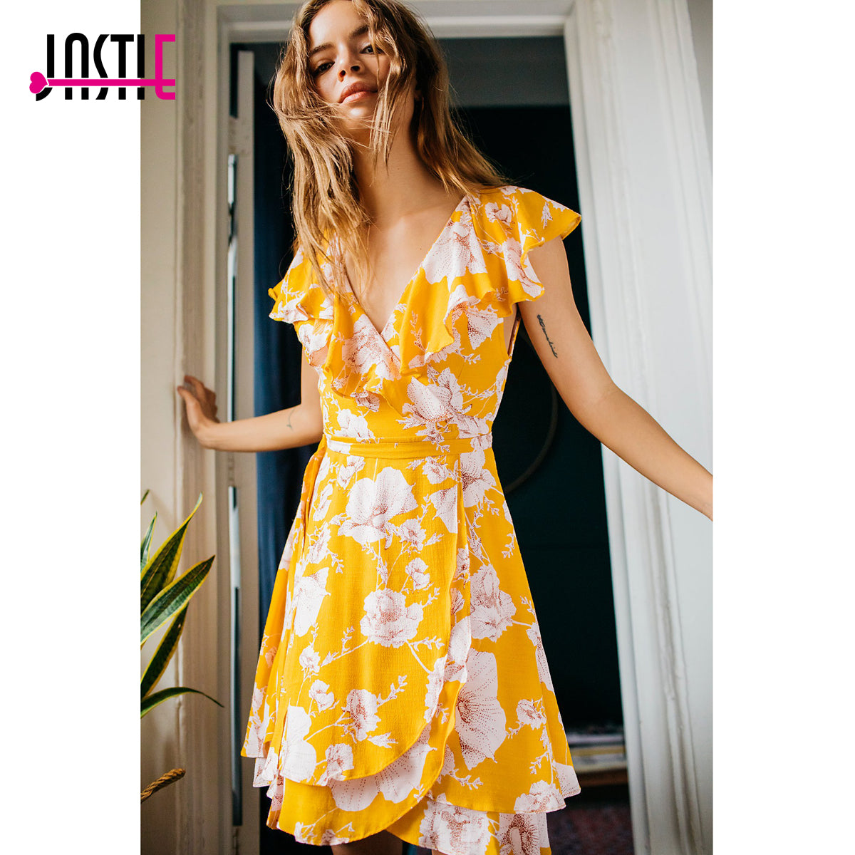 Ruffle Wrap Dress with Floral Print