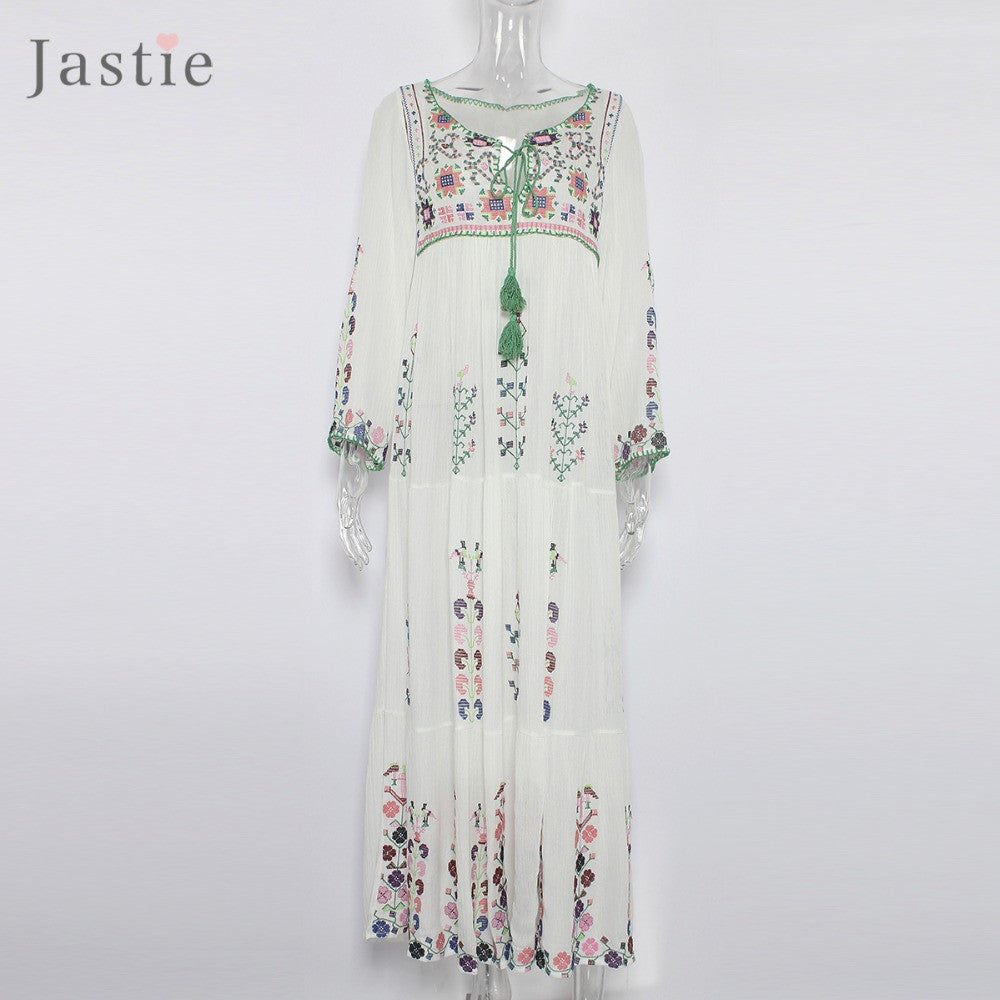 Maxi Long Sleeve Embroidery Dress