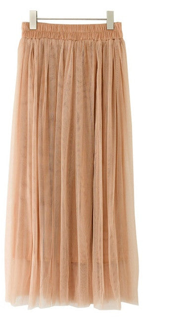 Pleated Mesh Skater Midi Skirt