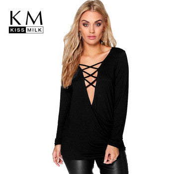 Plus Size! Basic Long Sleeve Front Lace-up tops