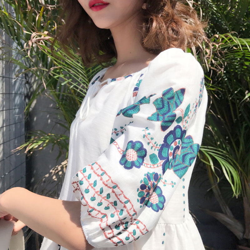 Floral Embroidery Tunic