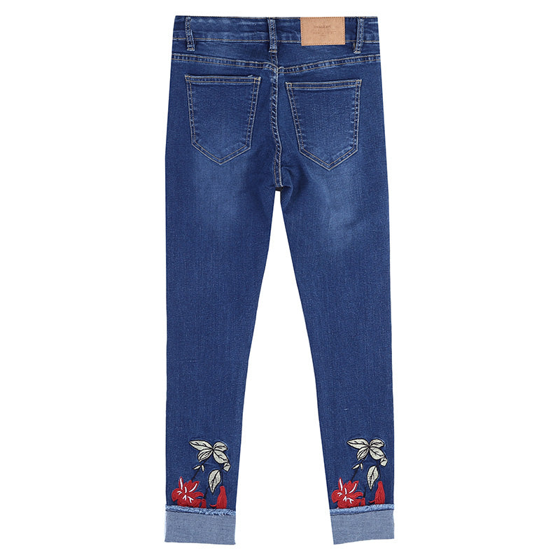Flowers Embroidered Jeans Casual Mid-Waist Jeans