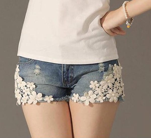 Lace Floral Denim Shorts