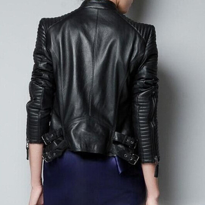 Quilted Sleeve Moto Jacket