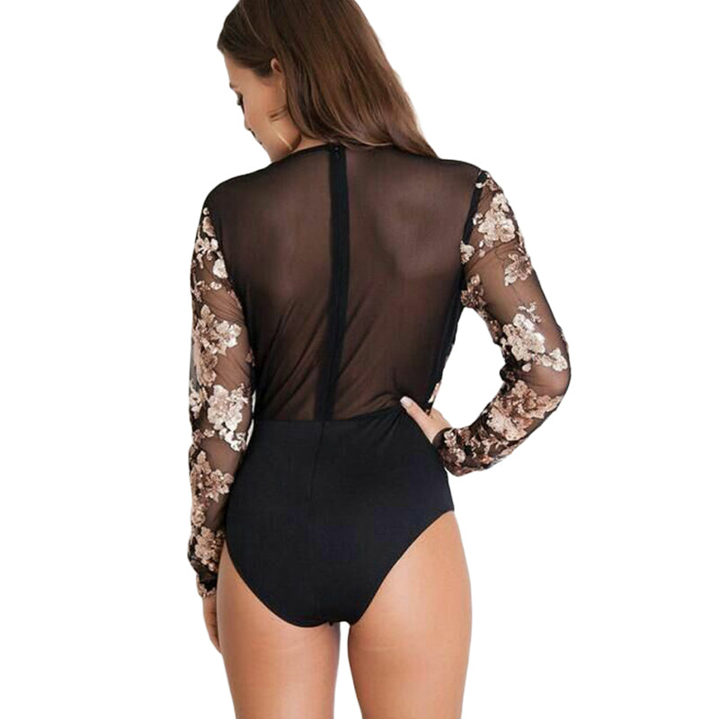 Sequin Bodysuits with Long Sleeve & Deep Neck
