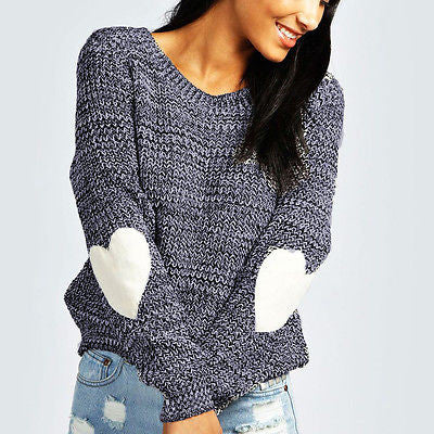 Knitted Heart Elbow Sweater