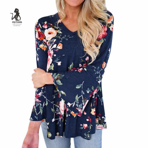 Long Flare Sleeve Floral Printing Tops