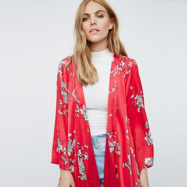 Boho Floral Printed Red Casual Loose Kimono