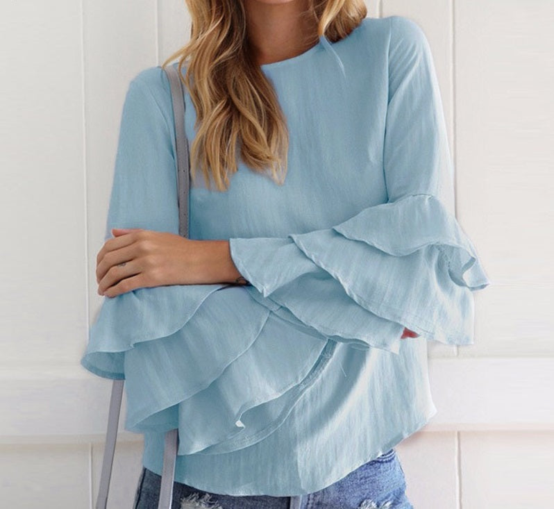 Ruffle Bell-Sleeve Top