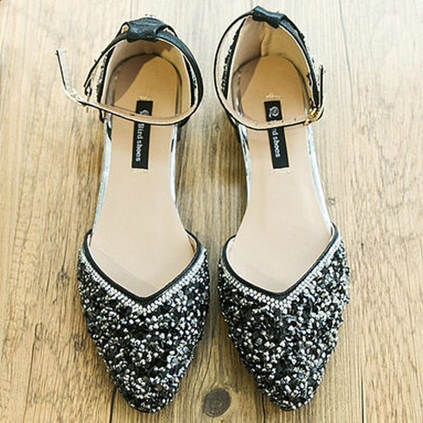 Sequined Flats with Pointed Toes