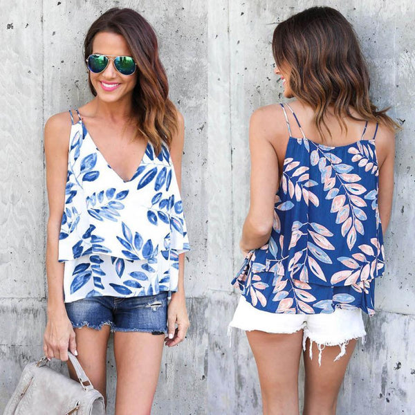 Strapless V Neck Print Leaves Camisole Top