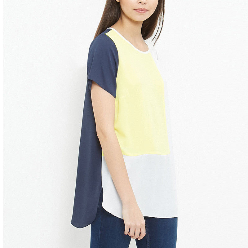 Color block Long Tunic Tops