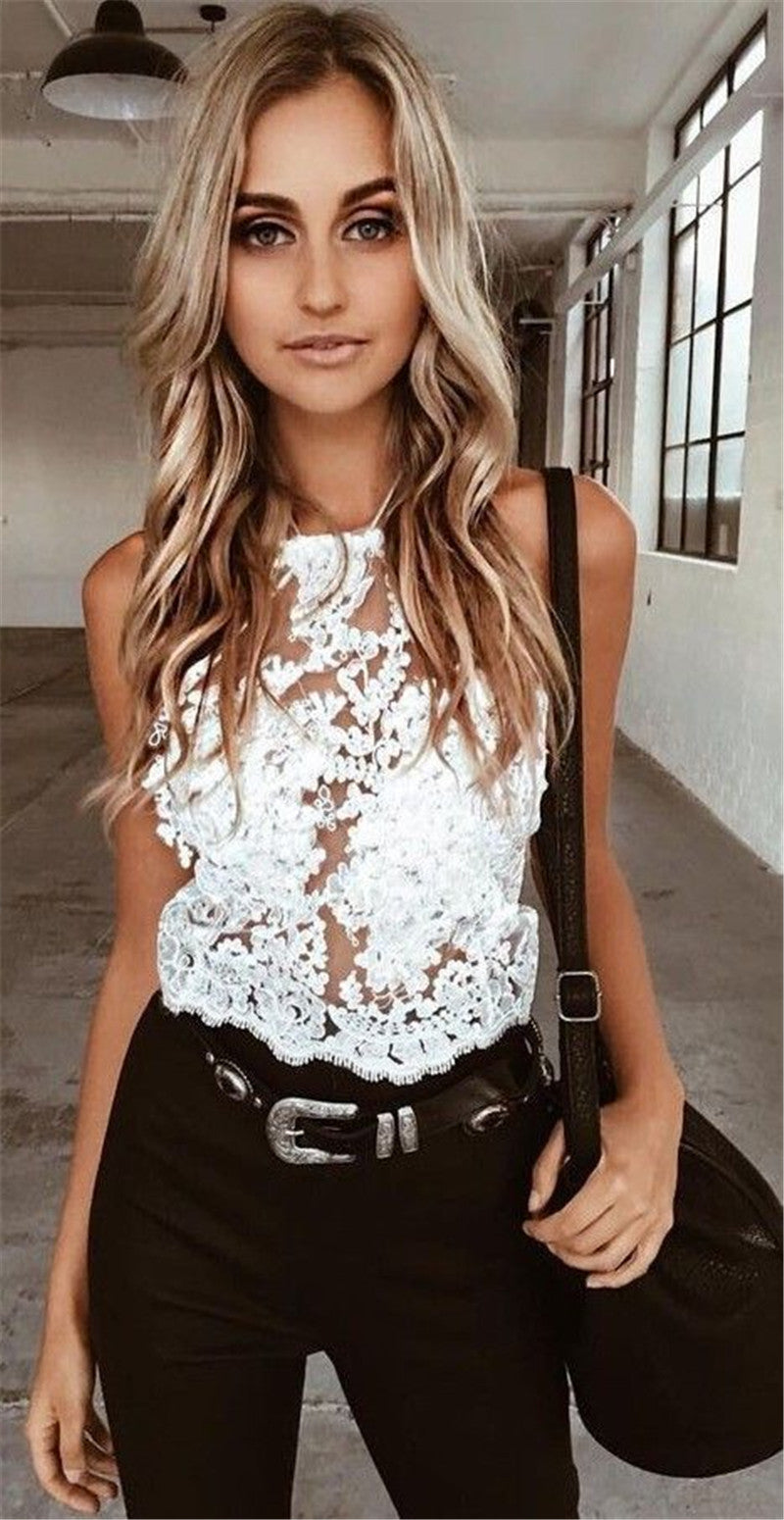 Floral Lace Sheer Mesh Top