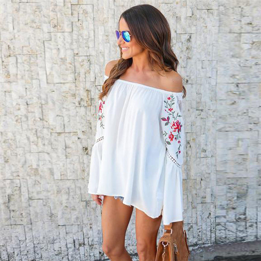 Printed Over The Shoulder Blouse Zarinz