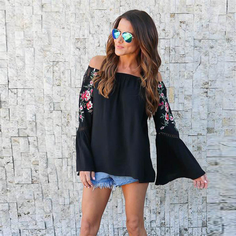 Printed Over the Shoulder Blouse