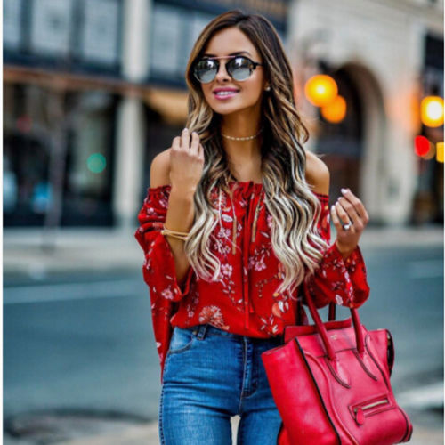 Off Shoulder  Floral Long Sleeve  Blouse Loose Crop