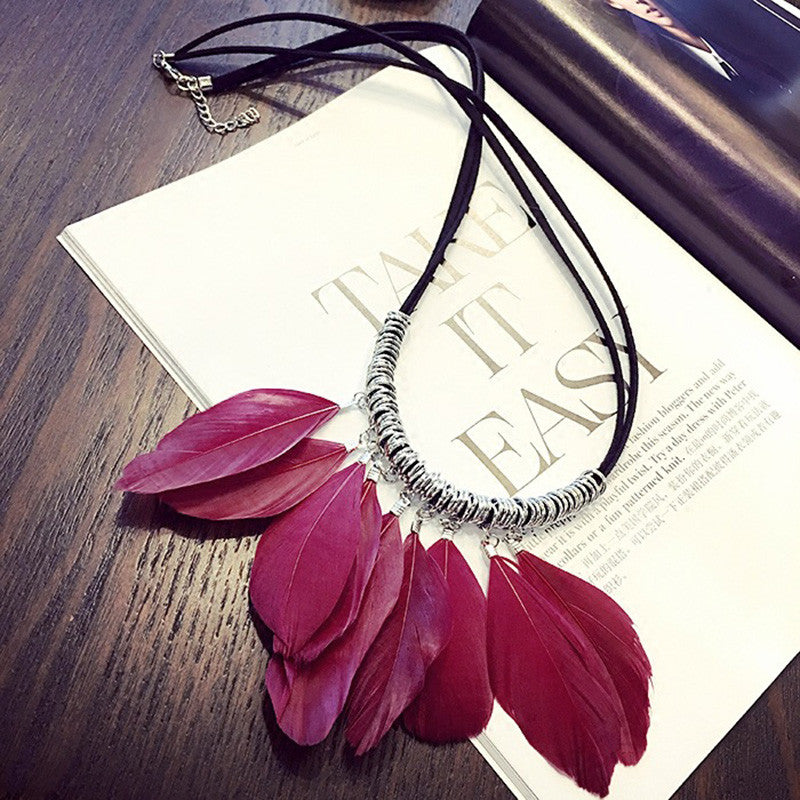 Long Feather Necklace