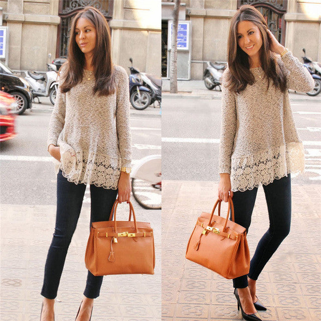 Long Sleeve Lace Bottom Tops