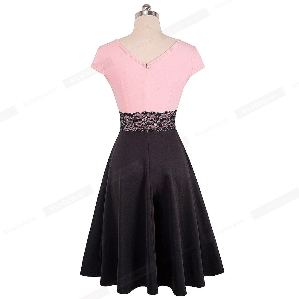 Colorblock Flower Lace Dress