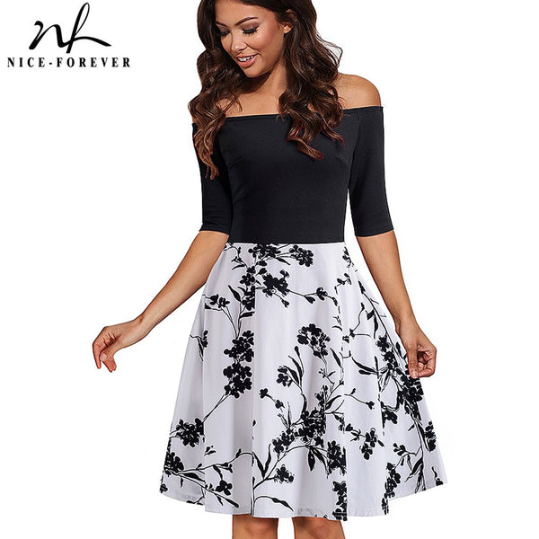 Flower Print Off shoulder A-line Swing Dress