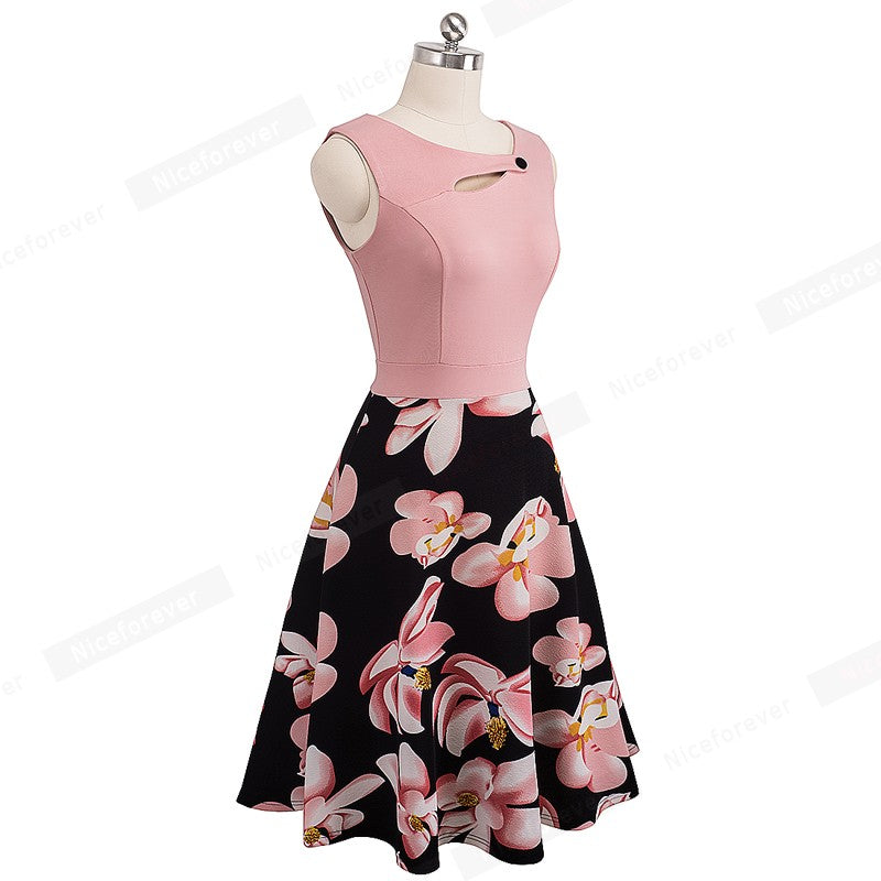Floral Print Sleeveless Flare A-Line Dress