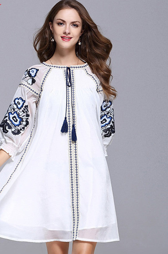 Quarter Sleeve Floral Embroidery Tassel Dress