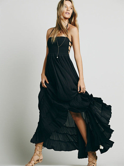 Solid Maxi Dress with Back Strap Details