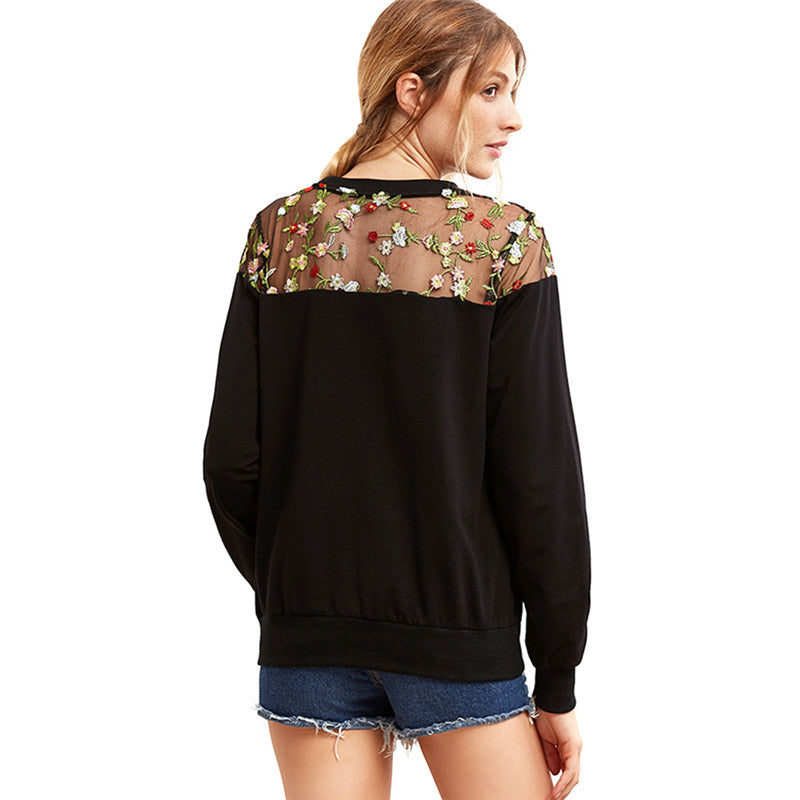 Mesh Embroidery Long Sleeve Floral Blouse