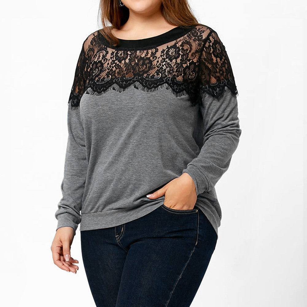 Plus Size 2017 Women Autumn Winter Blouses Vintage Lace O Neck Long Sleeve Tops Tee Shirt Womens Clothing Blusas Feminina