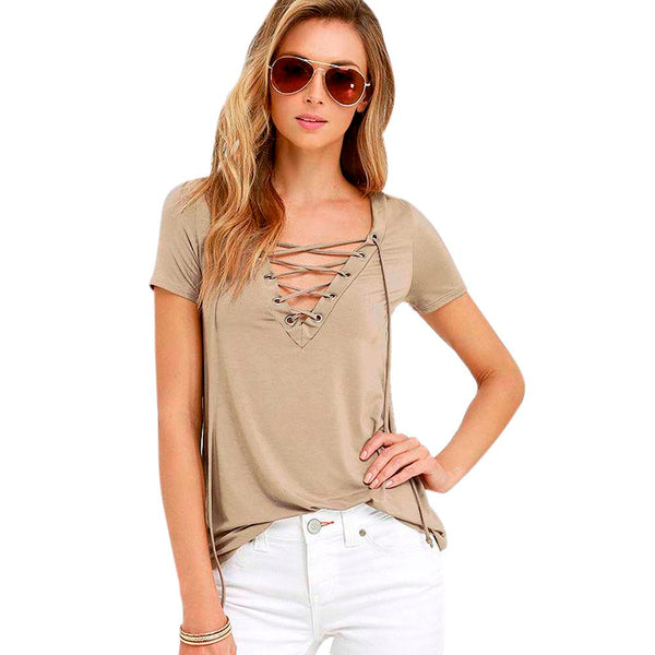 Lace Up V Neck Tee