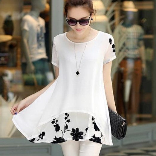 Short Sleeve Loose Embroidery Blouse