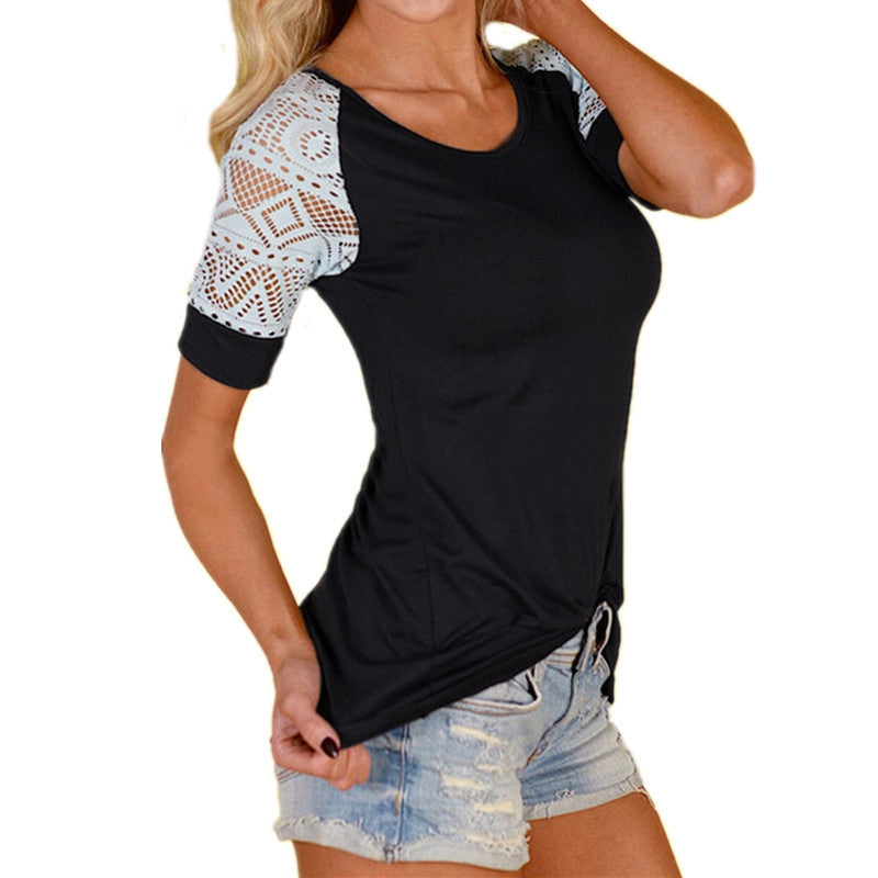 Lace Sleeve Casual Tee