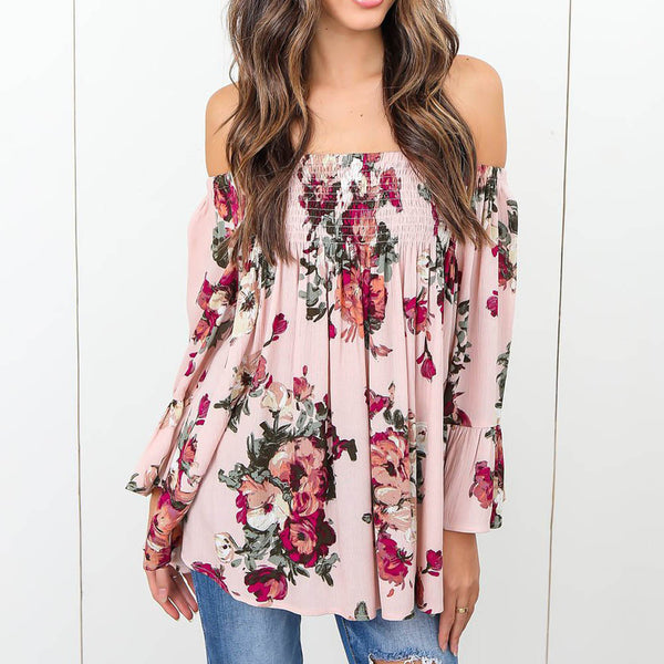 Floral Print Sexy Off Shoulder Blouse