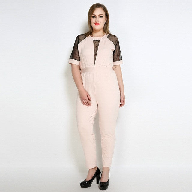 Plus Size! Deep V Neck Short Sleeve Jumpsuit