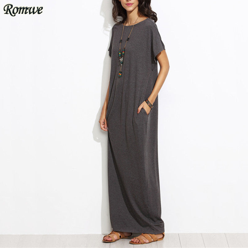 Short Sleeve Solid Maxi Dress