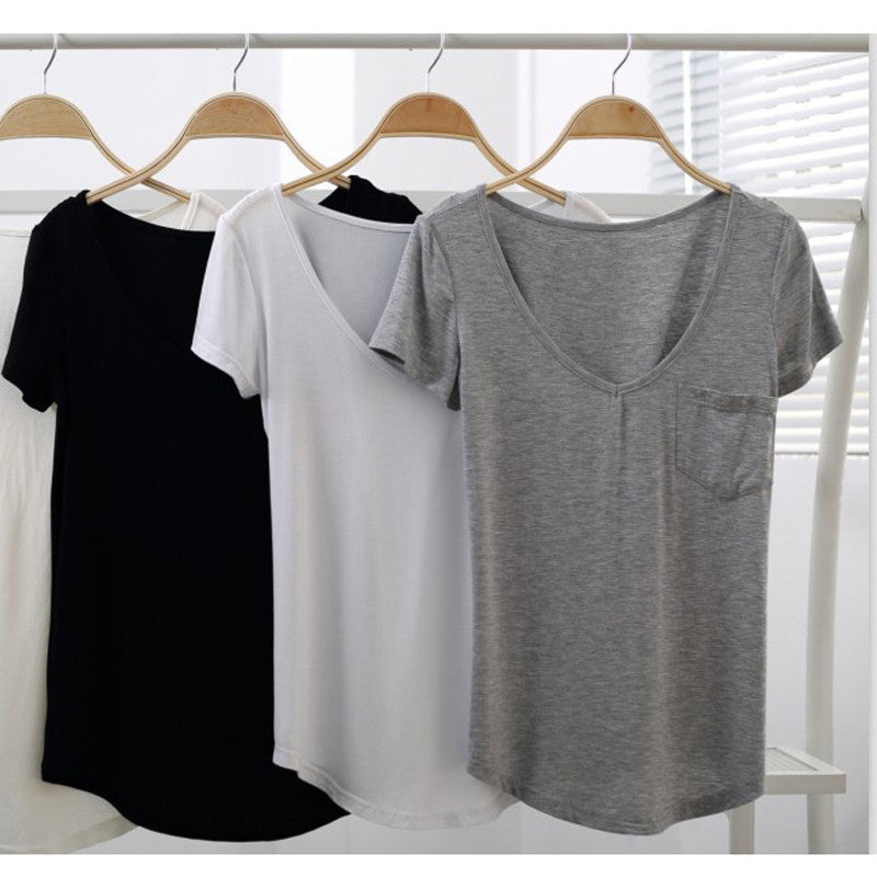 Basic V neck Soft Tee Shirt