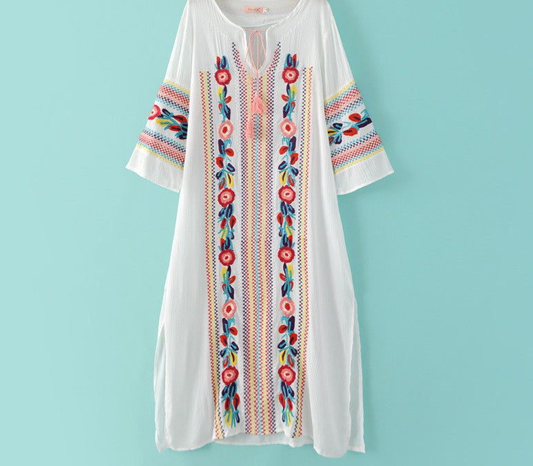 Floral Tassel Front Embroidery Dress