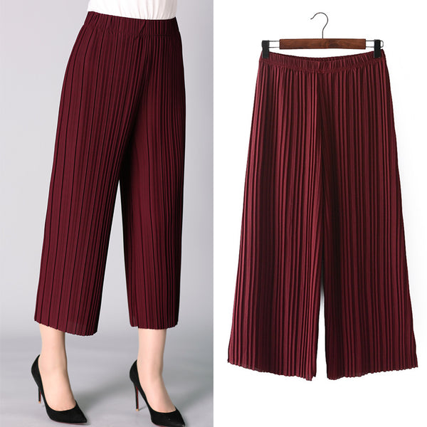 Wide Leg Casual Solid Chiffon Pleated Pants