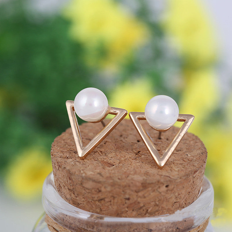 Triangle Pearl Earrings