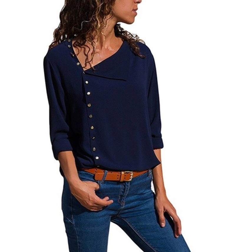 Casual Loose Long Sleeve Buttons Blouse Tops