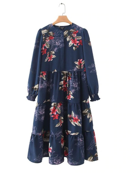 Floral print mid calf shirt dress long sleeve