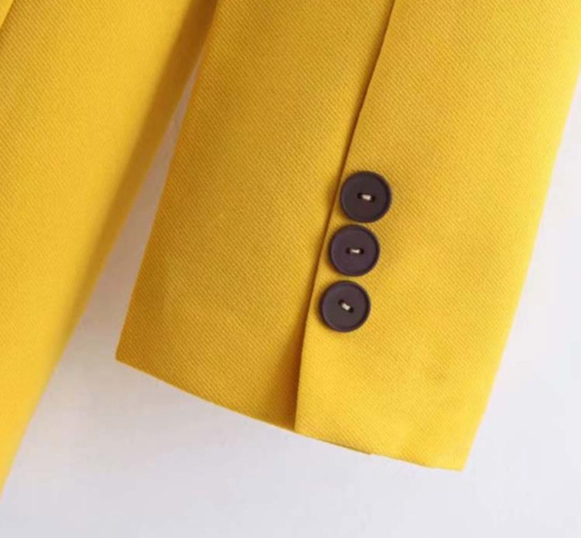 Chicy yellow double breasted long sleeve blazer