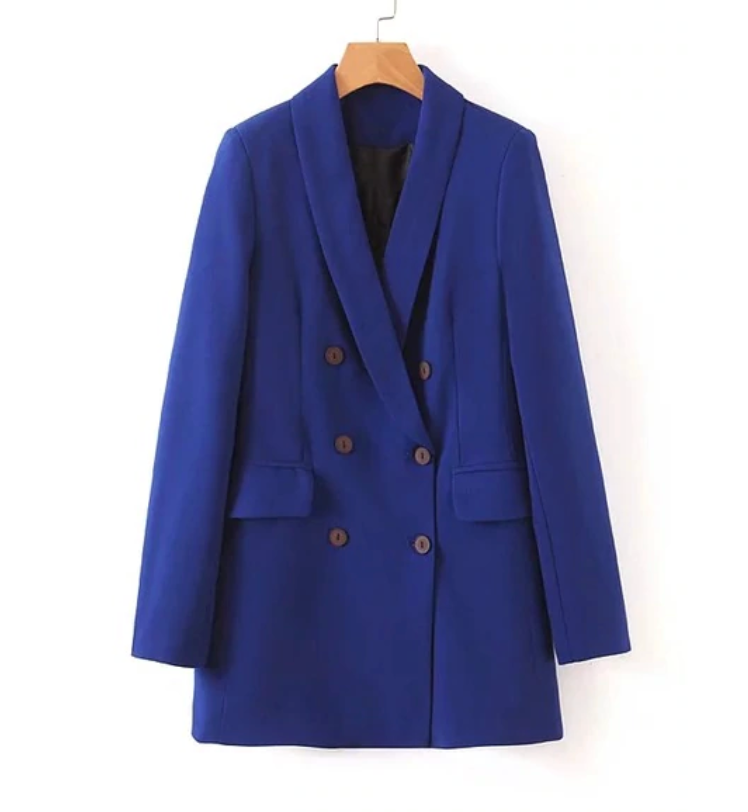 Double Breasted Pocket Women Blazer