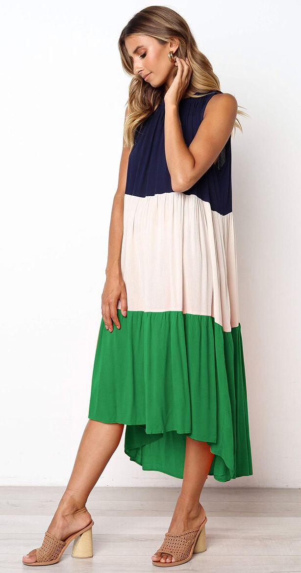 Maxi Dress with Pleated Patchwork