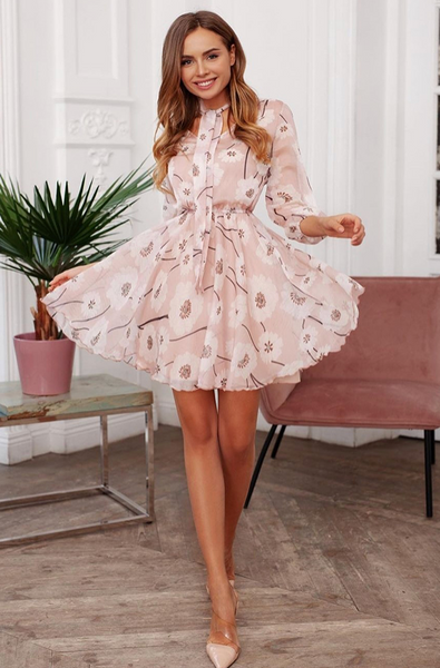 Floral Print Bow Tie Neck Chiffon Summer Dress