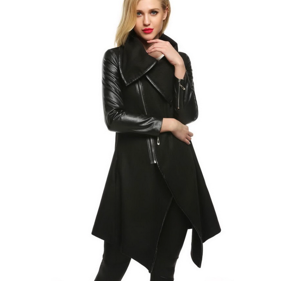 Leather Patchwork Wool Coat