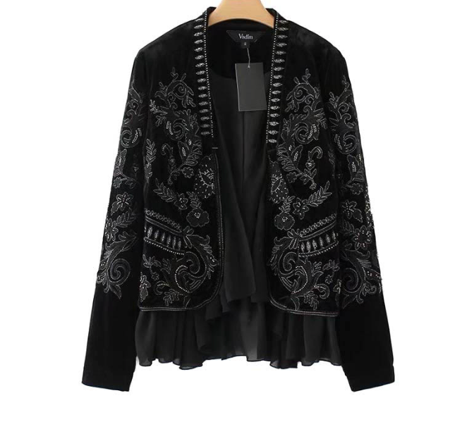 Long Sleeve Embroidery Velvet Coat